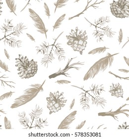 Seamless pattern with hand drawn feathers and branches, pine cones. Isolated objects. Vector background