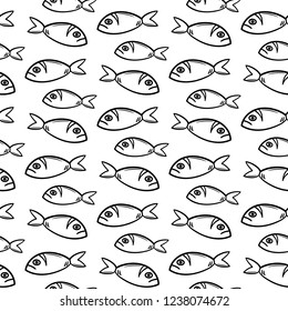 Seamless pattern hand drawn fish. Doodle black sketch. Sign symbol. Decoration element. Isolated on white background. Flat design. Vector illustration.