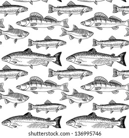 Seamless pattern with hand drawn fish in vintage style