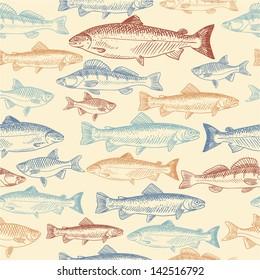 Seamless pattern with hand drawn fish