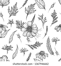 Seamless pattern with hand drawn flowers and leaves, vintage style