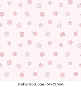 Seamless Pattern of Hand Drawn Flowers on Light Pink Polka Dot Background
