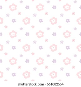 Seamless Pattern of Hand Drawn Flowers and Butterflies on White Background