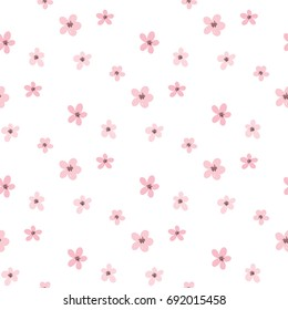 Seamless Pattern of Hand Drawn Flowers on White Background