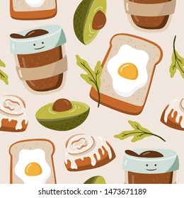 Seamless pattern with hand drawn food. Avocado, toast with egg, coffee, bakery. Vector illustration on white background. Eco lifestyle.