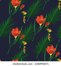 seamless pattern of hand drawn freesia flowers with palm leaf in vector
