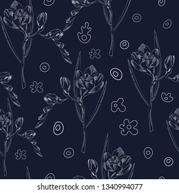 seamless pattern of hand drawn freesia flowers outline in vector