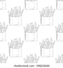 Seamless pattern with hand drawn french fries. Sketched fast food vector illustration. Background for cafe, restaurant, eatery, diner, website or take away bag design