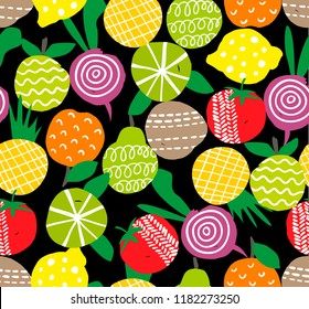 Seamless pattern with hand drawn fruits and vegetables on the black background. Vector illustration in scandinavian style.