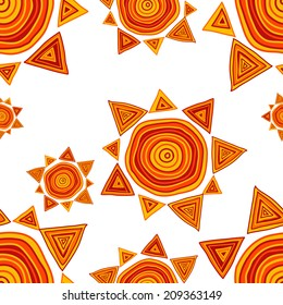Seamless pattern with hand drawn funny suns on a white background, clipping mask is used, vector illustration