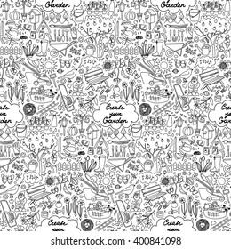 Seamless pattern with hand drawn garden elements