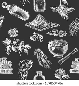 Seamless pattern hand drawn of ginseng roots, lives and flowers in chalk white color isolated on black board Retro vintage graphic design Botanical sketch drawing, engraving style. Vector illustration