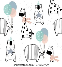 Seamless pattern with hand drawn giraffe, elephant, bear and party elements. Creative childish texture in scandinavian style. Great for fabric, textile Vector Illustration