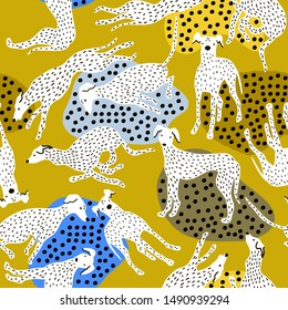 Seamless pattern with hand drawn greyhounds. Creative dog texture in scandinavian style. Great for fabric, textile Vector Illustration