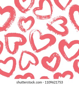 Seamless pattern with hand drawn heart. Hearts painted dry brush. Ink illustration. Ornament for wrapping paper.