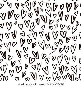 Seamless pattern with hand drawn hearts. Creative expressive background