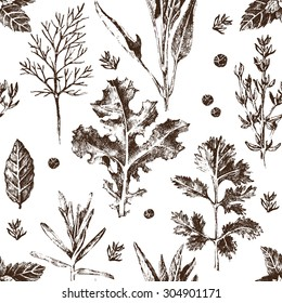 seamless pattern with hand drawn herbs and spices in vintage style