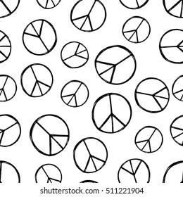 Seamless pattern with  hand drawn hippie peace symbol. Hippy pacific sign.  Boho vintage fashion. Black and white wallpaper.