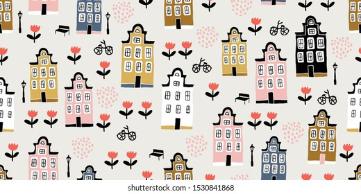 Seamless pattern with hand drawn houses and tulips in scandinavian style. Perfect for textile, wallpaper. Scandinavian urban buildings background in pastel colors. Minimalistic Amsterdam pattern