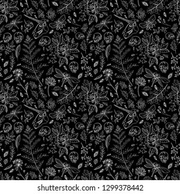 Seamless pattern. Hand drawn illustration. A huge set. Great for tattoos, prints on t-shirt and more. Happy Halloween!