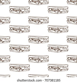 Seamless pattern with hand drawn images of triangle shaped toasts. Simple repeating pattern with linear drawing. Vector illustration for fabric and wrapping paper.