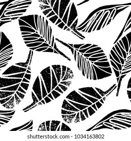 Seamless pattern with hand drawn leaves in black and white palette. Vector illustration for fashion t shirt textile wallpaper design, for all over printing. Digital craft stamp style.