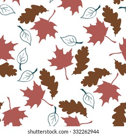 Seamless pattern with hand drawn leaves.
