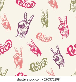 """Seamless Pattern with Hand Drawn Lettering """"Peace"""" and Hands with Two Fingers Up Gesture. Vector Illustration."""