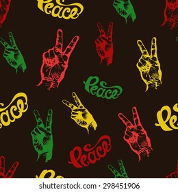 """Seamless Pattern with Hand Drawn Lettering """"Peace"""" and Fingers Giving Peace Sign. Vector Illustration in Rasta Colors."""
