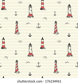 Seamless pattern with hand drawn lighthouses and anchors