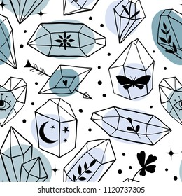 Seamless pattern with hand drawn line art Minerals, Crystals, Gems with leaves, moths, moon, stars inside. Magic fairytale Halloween theme. Magical elements illustration. Vector, Isolated objects.