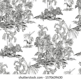 Seamless Pattern Hand Drawn Lithography Etching Illustration Tropical Jungle Forest Wildlife Tiger, Leopard Animals in Tropics with Palm Trees Wallpaper Black and White on White Background Old Drawing