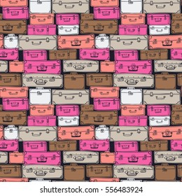 Seamless pattern with hand drawn luggage. Different colorful vintage suitcases on black background.