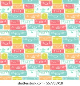 Seamless pattern with hand drawn luggage. Different colorful vintage suitcases on white background.