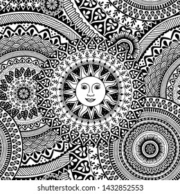 Seamless pattern with hand drawn mandalas, black and white ink illustration with the sun in the center