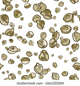 Seamless pattern with  hand drawn marijuana seeds isolated on white background. hand drawn cannabis seeds. Legalization of medical cannabis. Template for textile design, packaging materials. Vector