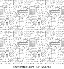 Seamless pattern with hand drawn mathematics formules and other elemets. Science collection. Vector doolle illustration