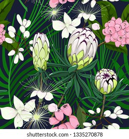 seamless pattern of hand drawn mixed lime light protea and pink lilly pilly australia native plant