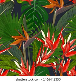 seamless pattern of hand drawn mixed bird of paradise and red heliconia angusta flower with tropical green leaf on dark blue background