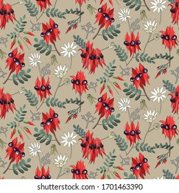 seamless pattern of hand drawn mixed white flennel flower and swainsona or sturt desert pea ,western australia wild flowers on white background