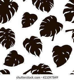 Seamless pattern. Hand drawn monstera deliciosa leaves.