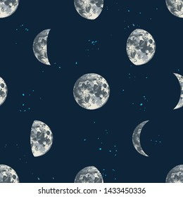 Seamless pattern with hand drawn moons. Vector illustration