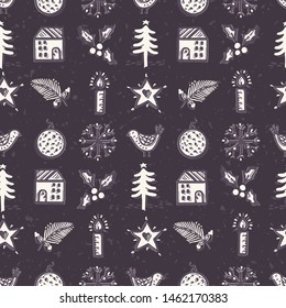 Seamless pattern. Hand drawn naive Christmas star fir tree, house in the woods. Festive folk art background. traditional holiday all over print.