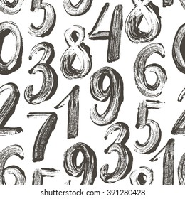 Seamless pattern with hand drawn numbers. Ink illustration. Hand drawn numbers elements. Brush strokes. Ornament for wrapping paper. Imitation of graffiti.