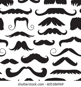 Seamless pattern with hand drawn old fashion mustaches. Black contour artistic drawing. Actual hipster vector. Male barber shop background