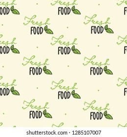 Seamless pattern. hand drawn organic. Fresh food lettering. Vegetarian, 100 natural food, organic product, vegan, homegrown. brush calligraphy.green. wrapping paper, wallpaper packaging print. vector