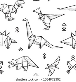 Seamless pattern with hand drawn origami dinosaurs in black and white colors. Ideal for coloring book. Vector illustration
