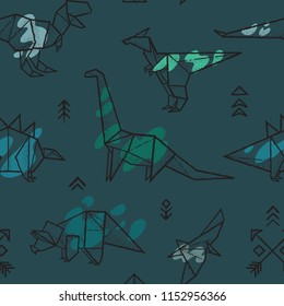 Seamless pattern with hand drawn origami dinosaurs with green splashes. Vector illustration