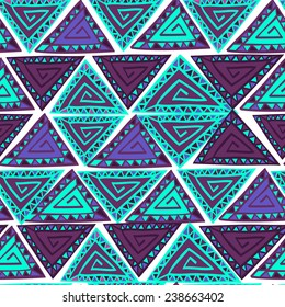 Seamless pattern with hand drawn ornamental triangles. Purple and cyan colors. White background. Clipping mask is used, vector illustration.