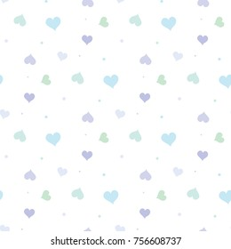 Seamless Pattern of Hand Drawn Pastel Hearts on White Background